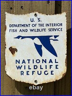 Vintage Us National Wildlife Refuge Porcelain Metal Sign Dept Of Interior Fish
