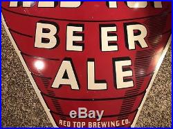 Vintage VERY RARE Red Top Beer Ale Double Sided Painted Metal Sign 70 x 47