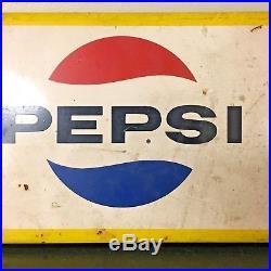 Vintage VTG Pepsi Cola Soda Pop Gas Station 30 Metal Door Push Sign Rare HTF