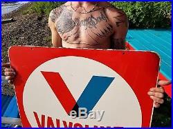 Vintage Valvoline Motor Oil 2 sided Gasoline Metal Sign Gas Oil 30inX30in