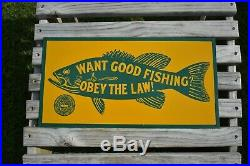 Vintage Want Good Fishing Obey The Law Metal Sign Pennsylvania