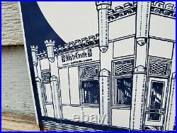 Vintage White Castle Hamburgers 5 Cents 12 Porcelain Metal Gasoline & Oil Sign