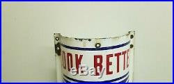 Vintage William Marvy Porcelain Metal Curved Barbershop (Barber Pole) Sign 48