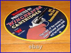 Vintage Winchester Ammunition Gun 11 3/4 Porcelain Metal Gasoline Oil Arms Sign