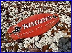 Vintage Winchester Porcelain Metal Sign Gas Gun Rifle Horse Firearm Ammo Rodeo