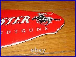 Vintage Winchester Rifle Shotguns Man Horse 11 3/4 Porcelain Metal Gas Oil Sign
