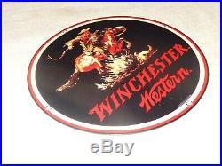 Vintage Winchester Western Horse Man Gun 11.25 Porcelain Metal Hunting Gas Sign