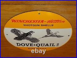Vintage Winchester Western Shotgun Shells Dove Quail 11 3/4 Porcelain Metal Sign
