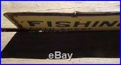 Vintage Wisconsin Fishing License Metal Tin 2 Sided Sign Original Old RARE Cabin