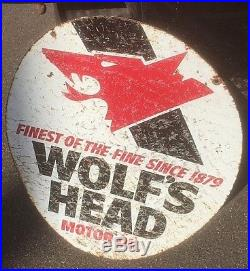 Vintage Wolf Head Motor Oil Metal Sign Gas Gasoline Service Station 30X23