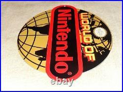 Vintage World Of Nintendo 12 Metal Mario Brothers Nes 64 Snes Gasoline Oil Sign