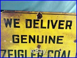 Vintage Zeigler Coal Mining Company Porcelain Metal Sign 12 X 18