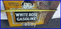 Vintage advertising 1930's white rose en-ar-co gas station 2 sided metal sign