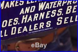 Vintage c. 1910 Solfiline 5c Shoe Harness Treatment Gas Oil Embossed Metal Sign