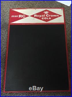 Vintage c. 1950's RC Royal Crown Cola Tin Metal Chalkboard Sign Embossed