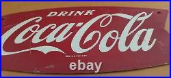 Vintage c. 1960 Coca Cola Fishtail Soda Pop Gas Station Metal Sign Coke