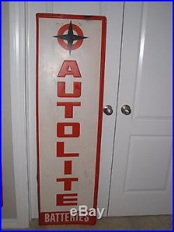 Vintage lg 60X18 Vertical Metal Autolite Batteries Sign nice cond