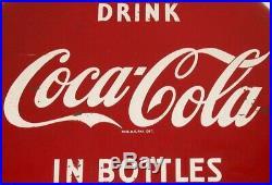 Vintage metal sign COCA COLA IN BOTTLES round 12 button Reg U S Pat Off exc+