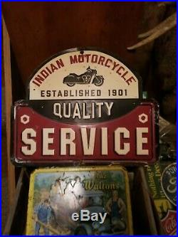 Vintage old Indian motorcycle motor service metal sign harley Davidson oil gas