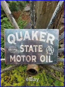 Vintage old Quaker State motor oil metal sign gas advertising display rack sales