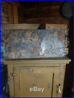 Vintage old embossed Mortons smoked salt metal sign general store gas oil RARE