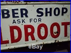 Vintage old embossed metal barber shop wildroot sign gas station general store
