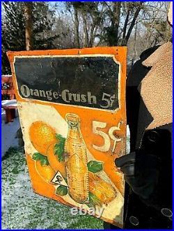 Vintage old original 1932 Orange Crush Soda Pop Metal Bottle Sign W Crushy 27X19