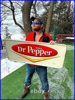 Vintage old original Dr Pepper Soda Pop Metal Chevron Sign 40inX18in