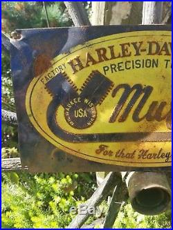 Vintage old original Harley Davidson muffler metal display sales motorcycle sign