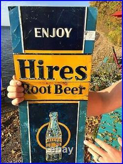 Vintage old original Hires Rootbeer Soda Pop Metal Sign 28X10