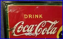 Vintage original 1941 Coca Cola metal sign 27x19 gas oil WW2 era great color