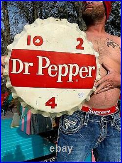Vintage original 20in Dr Pepper 10-2-4 Soda Pop Metal Bottle Cap Sign
