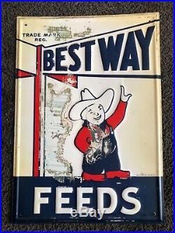 Vintage original Best Way Feeds sign- 1940/50s, metal, 10x14, barn find, rare
