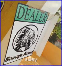 Vintage savage firearms dealer metal gun sales sign vintage metal flange sign