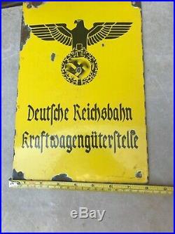 Vintage ww2 German Deutsche Reichsbahn Kraftwagenguterftelle Metal Sign