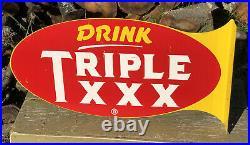 Vtg 1940s 50s Drink Triple XXX Root Beer Soda Ad Flange Sign Metal 21 Rare