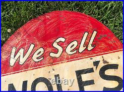 Vtg 1941 WOLFS HEAD Motor Oil Sign Painted Metal 30 Double Sided Rare