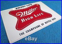 Vtg. 1950s MILLER HIGH LIFE BEER ORIGINAL METAL SIGN 20x28 EXC. + CONDITION