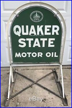 Vtg 1966 Quaker State Oil Hanging Enamel Metal Sign with Original Sidewalk Bracket