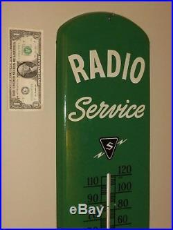 Vtg Adv Thermometer Sign, RADIO Service SYLVANIA TUBS. (S)Logo, Org, Metal, N-M, 1942