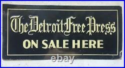 Vtg Advertising The Detroit Free Press Metal Tin Newspaper Enamel Sign Michigan