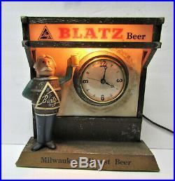 Vtg Blatz Beer Advertising Metal Tavern Clock Sign withBarrel Guy Lighted Marquee
