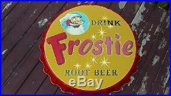 Vtg. Frostie Root Beer Bottle Cap Metal Sign New Old Stock Mega Rare 38 Stout