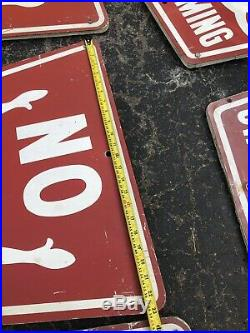Vtg Metal Tri-S Signs No Swimming 1960s Jaws Boat Lake Pool Sign