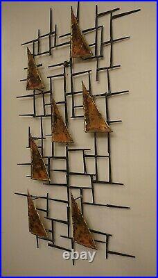 Vtg Mid Century Modern Brutalist Nail Wall Sculpture Schmidt Era 16 x 30