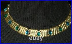 Vtg Monet Couture Green Oval Cabochons On Golden Metal Necklace And Earrings Set