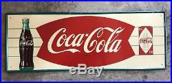 Vtg NOS(Unsure) FIshtail Coca Cola Metal Sign WithSoda/Coke Bottle & Can HTF Rare