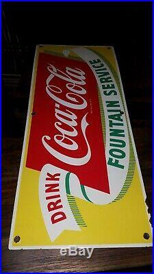 Vtg ORIGINAL Coca Cola Coke Fountain Service Porcelain Sign yellow metal