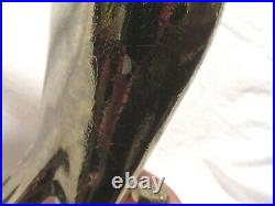 Vtg. Rare Old Crow Bourbon Whiskey Back Bar Statue Sign (blank Metal Plate)
