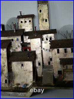 Vtg Signed Curtis Jere Wash Day in Capri Welded Metal Village 53 Wall Sculpture